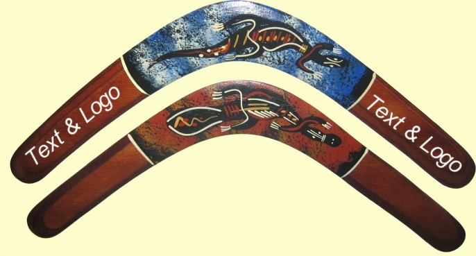 Corporate boomerangs hand painted