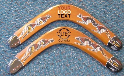 plywood boomerang hand painted and logo print