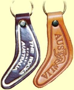 Leather boomerang key rings