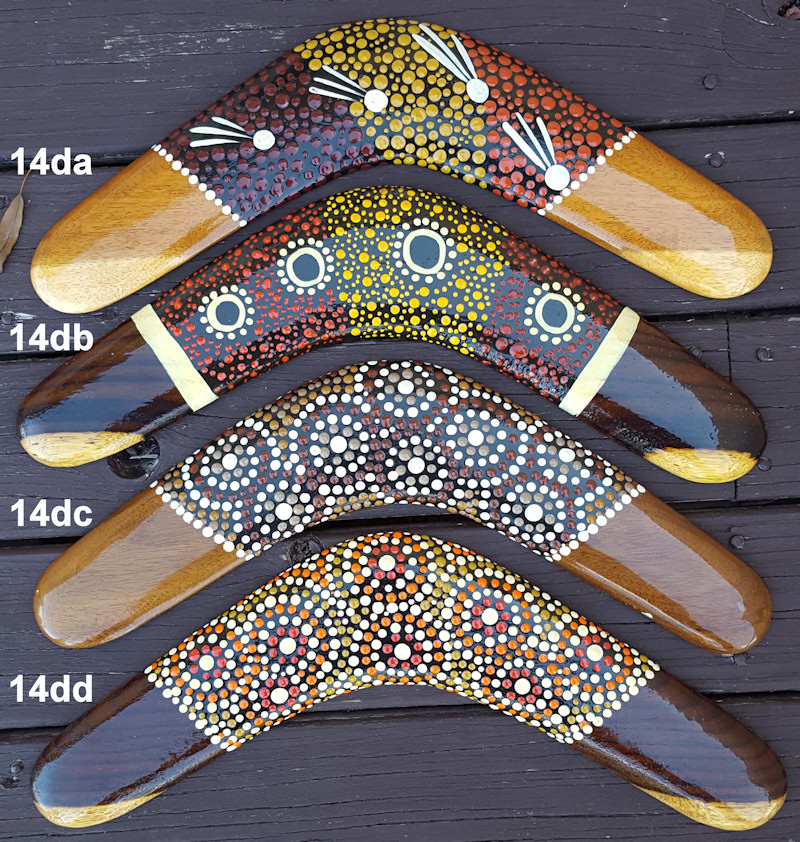 Aboriginal art collectible boomerangs. Traditional dot art