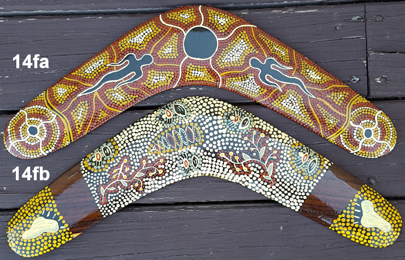 Aboriginal story telling boomerangs | Amazing dot art on 14 inch wooden boomerangs