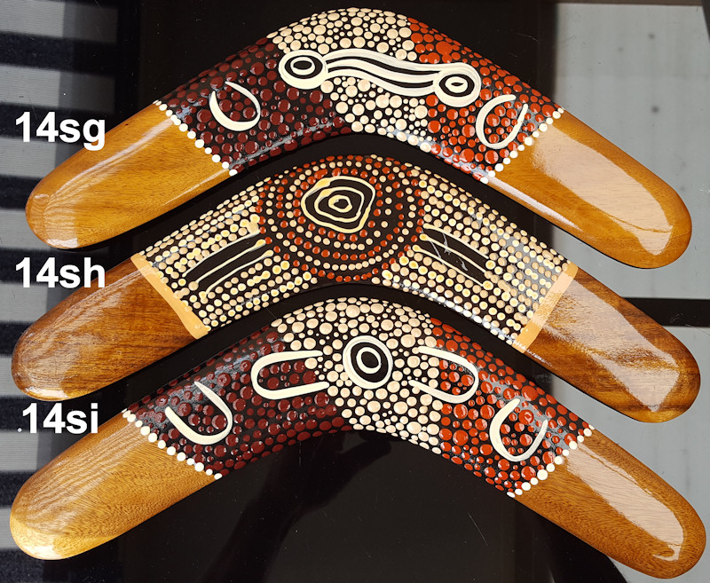 Wooden boomerangs | 14 inch | Aboriginal dot art
