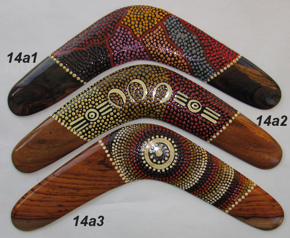 Collectable boomerangs - traditional dot art in desert colors